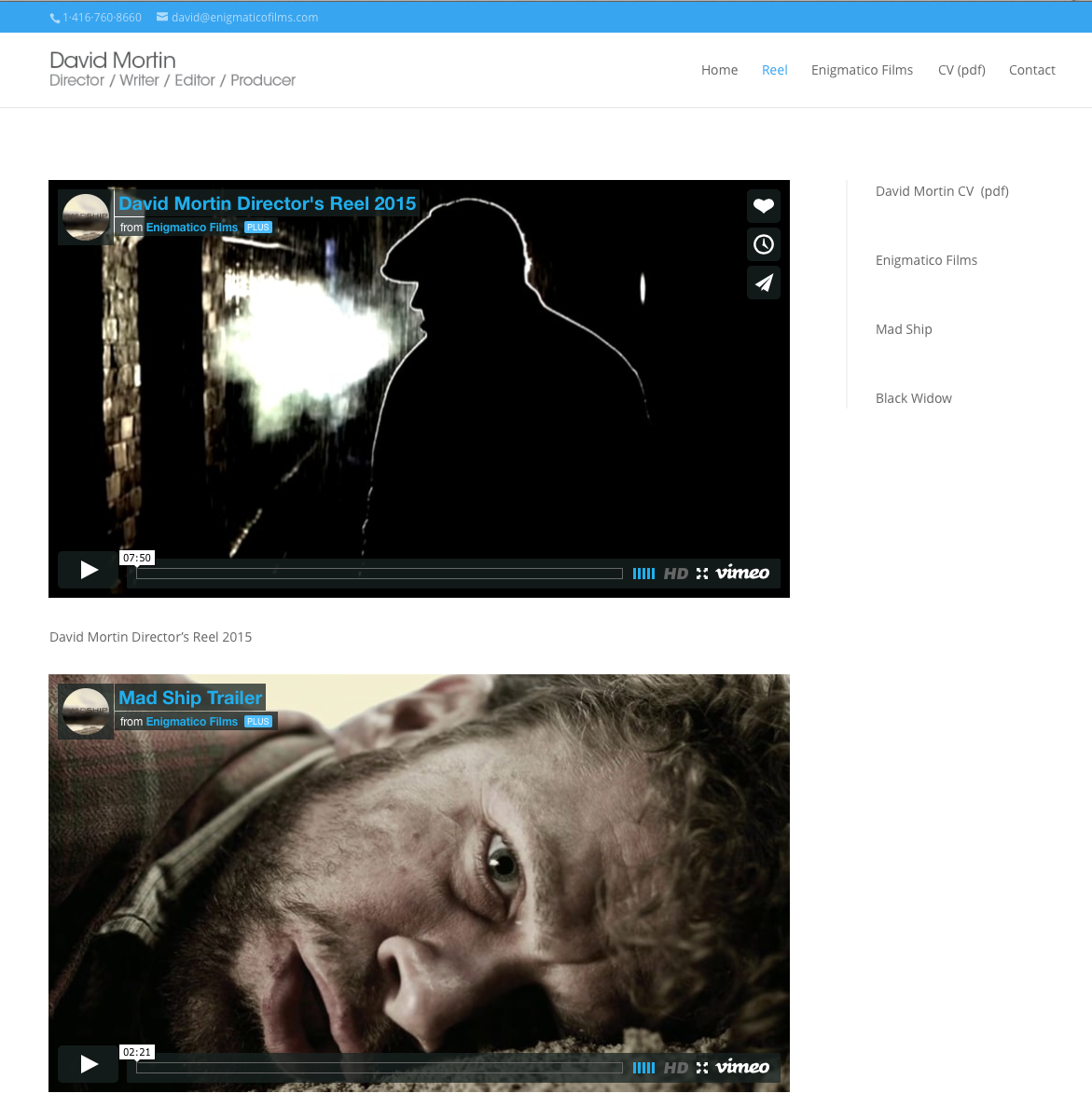 Page from website showing video feeds from several showcase reels