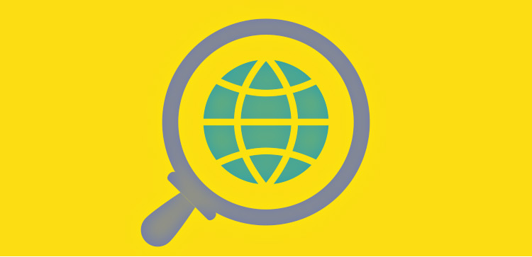Magnify glass and earth icon representing search engine optimization