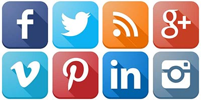 several common social media icons