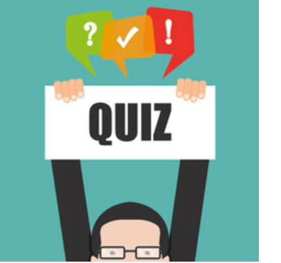 cartoon of man holding a sign that says quiz