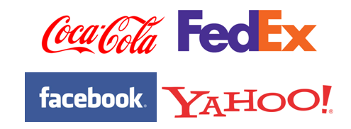 famous word marks- Coca Cola, Fed Ex, Yahoo and Facebook