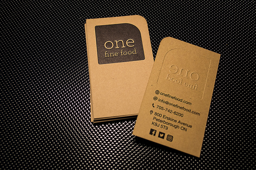 front and back of embossed business card