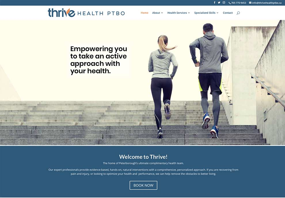 home page of thrive website